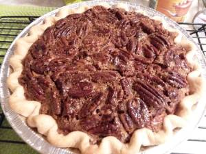 picture of pecan pie cooling on a rack