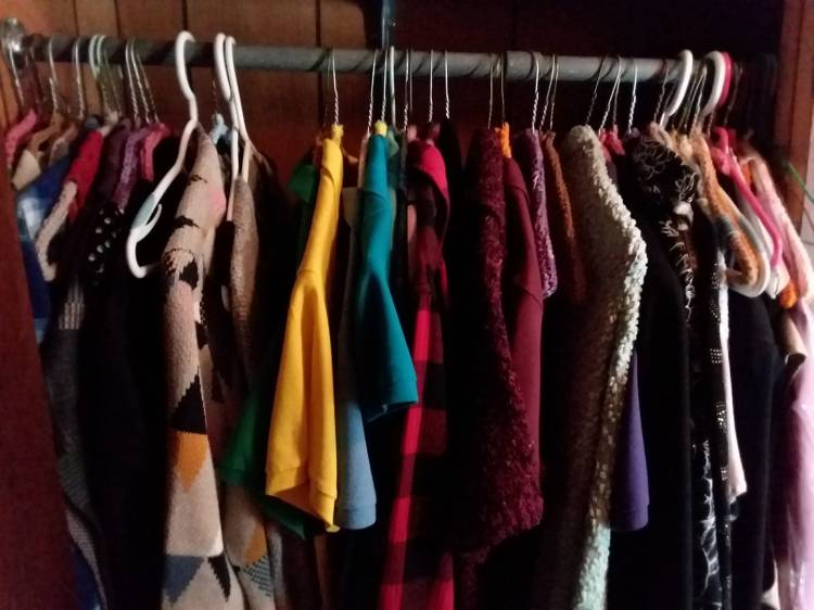 Picture of clothes hanging in a woman's closet