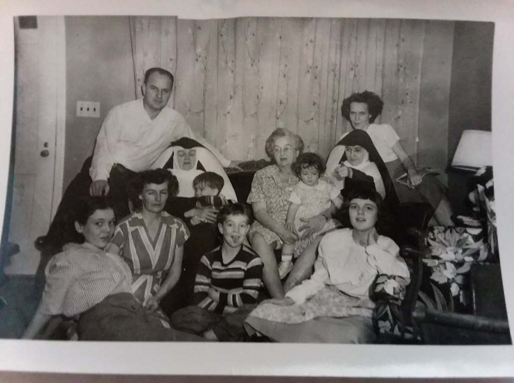 Black and white picture of my family, circa 1952.