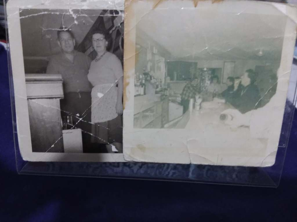 Two faded pictures of a man and a a woman standing behind a bar, and in the other picture some of the customers at the bar.