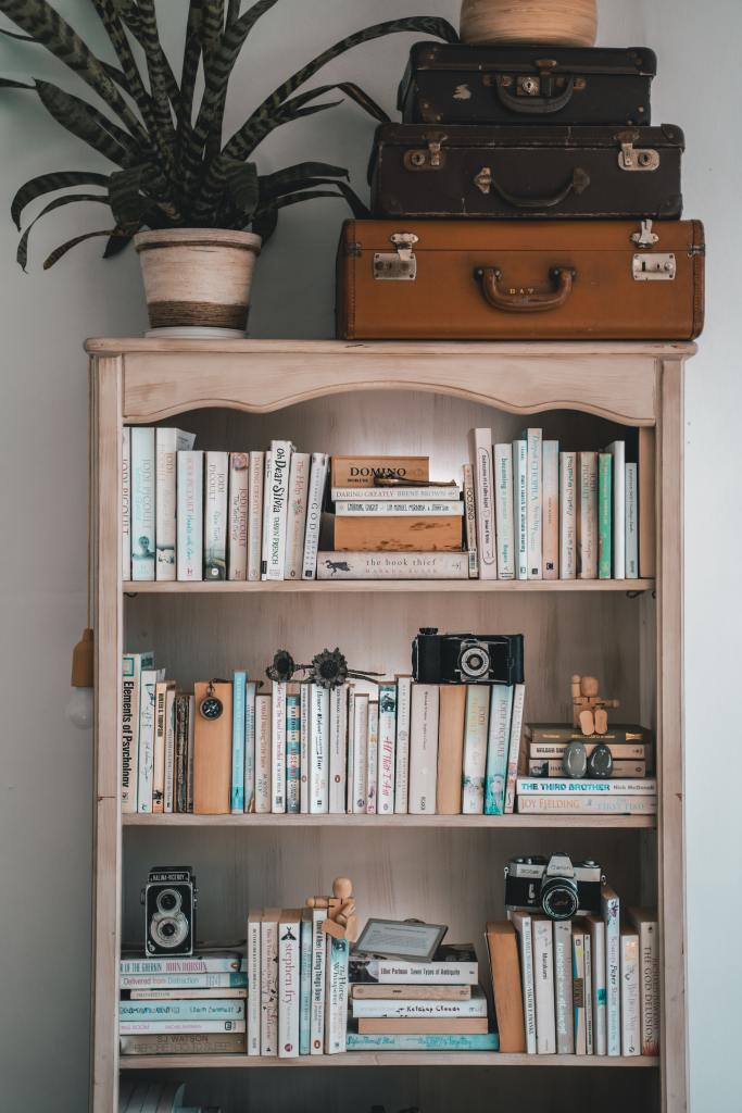 Picture of books in a book case with other mementos, including old cameras and suitcases on the top shelf. Picture has rounded edges.